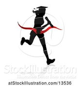 Vector Illustration of Black Silhouetted Female Graduate Running a Race, with a Shadow, Breaking Through a Red Finish Line Ribbon by AtStockIllustration
