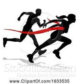 Vector Illustration of Black Silhouetted Female Runner Breaking Through a Red Finish Line and Competing with a Guy, with a Shadow by AtStockIllustration