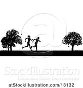 Vector Illustration of Black Silhouetted Fit Couple Running in a Park by AtStockIllustration