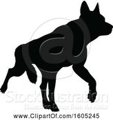 Vector Illustration of Black Silhouetted German Shepherd Dog by AtStockIllustration