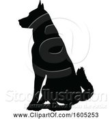 Vector Illustration of Black Silhouetted German Shepherd Dog Sitting by AtStockIllustration