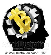 Vector Illustration of Black Silhouetted Guy's Head with a 3d Gold Bitcoin Symbol Breaking Out, Thinking About Money by AtStockIllustration