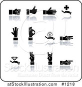 Vector Illustration of Black Silhouetted Hands Gesturing on a White Background by AtStockIllustration