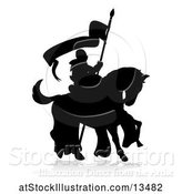 Vector Illustration of Black Silhouetted Knight on a Horse, with a Shadow on a White Background by AtStockIllustration