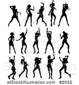 Vector Illustration of Black Silhouetted Ladies Dancing by AtStockIllustration