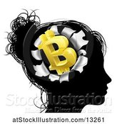 Vector Illustration of Black Silhouetted Lady's Head with a 3d Gold Bitcoin Symbol Breaking Out, Thinking About Money by AtStockIllustration
