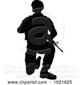 Vector Illustration of Black Silhouetted Male Armed Soldier by AtStockIllustration