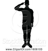 Vector Illustration of Black Silhouetted Male Soldier Saluting by AtStockIllustration