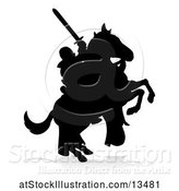Vector Illustration of Black Silhouetted Medieval Knight on a Rearing Horse, with a Shadow on a White Background by AtStockIllustration
