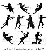 Vector Illustration of Black Silhouetted Men and Women Shooting by AtStockIllustration