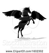 Vector Illustration of Black Silhouetted Pegasus Horse, with a Reflection or Shadow, on a White Background by AtStockIllustration