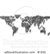 Vector Illustration of Black Silhouetted People Crowding Together and Forming the Global Continents by AtStockIllustration