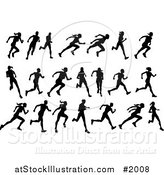 Vector Illustration of Black Silhouetted Runners by AtStockIllustration