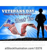 Vector Illustration of Black Silhouetted Soldier with an American Flag and Sky, with Text by AtStockIllustration