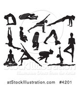 Vector Illustration of Black Silhouetted Women Doing Yoga Poses by AtStockIllustration