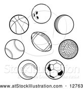 Vector Illustration of Black Sports Balls by AtStockIllustration
