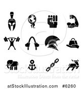 Vector Illustration of Black Strength Icons by AtStockIllustration
