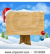 Vector Illustration of Blank Christmas Sign with a Santa Hat in the Snow by AtStockIllustration