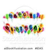 Vector Illustration of Blank White Banner Signs Bordered in 3d Colorful Happy Birthday Party Balloons by AtStockIllustration