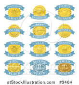 Vector Illustration of Blue and Gold Award Placement Badges by AtStockIllustration