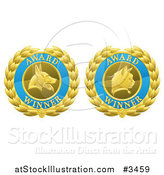 Vector Illustration of Blue and Gold Winner Cat and Dog Laurel Wreath Pet Award Medals by AtStockIllustration