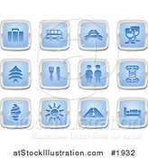 Vector Illustration of Blue and Silver Travel Icons by AtStockIllustration