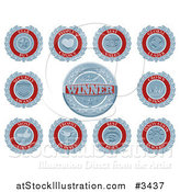 Vector Illustration of Blue and White Retro Award Badges or Medallions by AtStockIllustration