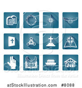 Vector Illustration of Blue and White Rounded Corner Square Christian Icons by AtStockIllustration