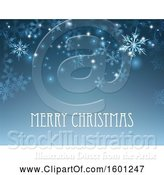 Vector Illustration of Blue Background of Winter Snowflakes and Flares with Merry Christmas Text by AtStockIllustration
