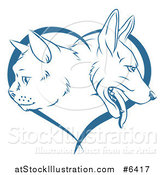 Vector Illustration of Blue Cat and Dog Faces in Profile over a Heart by AtStockIllustration
