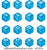Vector Illustration of Blue Cube Icons: Page Forward, Page Back, Upload, Download, Email, Snail Mail, Envelope, Refresh, News, Www, Home Page, and Information by AtStockIllustration