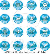 Vector Illustration of Blue Fishing, Hockey, Trophy, Baseball, Golfing, Racing, Ice Skating, Skiing, Cricket, and Cycling Sports Icons by AtStockIllustration