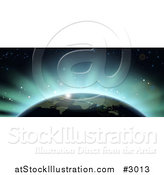 Vector Illustration of Blue Flares of Eclipse Light Behind Earth by AtStockIllustration