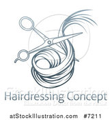 Vector Illustration of Blue Gradient Scissors Cutting Hair over Sample Text by AtStockIllustration