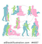 Vector Illustration of Blue Green and Pink Silhouetted Families by AtStockIllustration