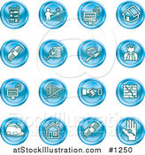 Vector Illustration of Blue Icons: Apartments, Handshake, Real Estate, House, Money, Classifieds, Brick Laying, Businessman, Hardhat and a Key by AtStockIllustration