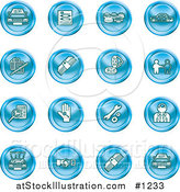 Vector Illustration of Blue Icons: Cars, a Log, Cash, Lemon, Dealer, Ads, Key, Wrench, Engine, Handshake and Money by AtStockIllustration