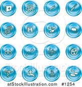 Vector Illustration of Blue Icons: Medicine, Science and Biology by AtStockIllustration