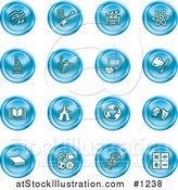 Vector Illustration of Blue Icons: Music Notes, Guitar, Clapperboard, Atom, Microscope, Atoms, Messenger, Painting, Book, Circus Tent, Globe, Masks, Sports Balls, and Math by AtStockIllustration