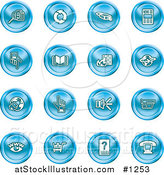 Vector Illustration of Blue Icons: Security Symbols by AtStockIllustration