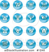 Vector Illustration of Blue Icons: Www, Connectivity, Networking, Upload, Downloads, Computers, Messenger, Printing, Clapperboard and Email by AtStockIllustration