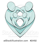 Vector Illustration of Blue Parents Protecting Their Children and Forming a Heart by AtStockIllustration