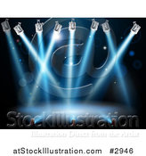 Vector Illustration of Blue Search or Spot Lights Shining over a Stage by AtStockIllustration