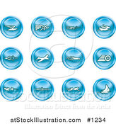 Vector Illustration of Blue Speed Icons: Email, Runner, Super Hero, Rabbit, Jet, Bird, Race Car, Tire, Lightning Bolt, Rocket, Cheetah and Sailboat by AtStockIllustration