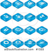 Vector Illustration of Blue Web Browser Tablet Icons: Forward and Back Buttons, Upload, Download, Email, Snail Mail, News, Refresh, Home and Search by AtStockIllustration