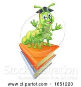 Vector Illustration of Books and Bookworm Worm by AtStockIllustration