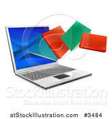 Vector Illustration of Books Flying from a Laptop Computer by AtStockIllustration