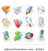 Vector Illustration of Books, Shopping Cart, Pencil, Cd, Home, Bar Graph, Search, Shopping Bag, Sms Card, Chat, Email and Microphone Web Browser Icons by AtStockIllustration