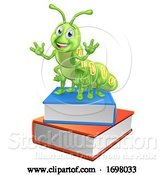 Vector Illustration of Bookworm Caterpillar Worm on Book Stack by AtStockIllustration