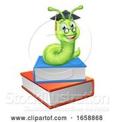 Vector Illustration of Bookworm Worm and Books by AtStockIllustration